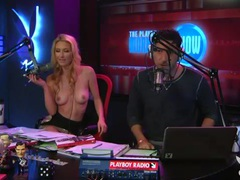 Radio hosts have fun with a cute busty blonde movies at sgirls.net