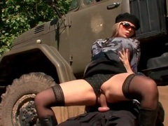 Classy clothed girl rides soldier cock outdoors movies at sgirls.net