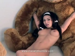 Cute asian plays with big teddy bear tubes at asian.sgirls.net