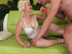 Mature wears white lingerie and gets licked movies at lingerie-mania.com