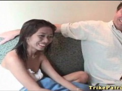 Skinny asian blows him and bends over for it movies at sgirls.net