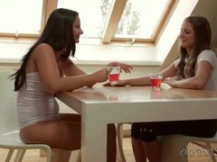 Chicks drink tea and eat pussy in the morning movies at find-best-panties.com