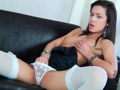 Petite chick in stockings and panties masturbates videos