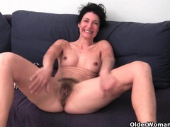 Hairy granny has a wet spot in her panties videos