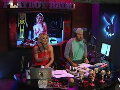 Topless blonde radio host chats with sexy chicks videos
