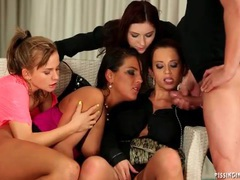 Four hot women piss all over him in sexy video videos