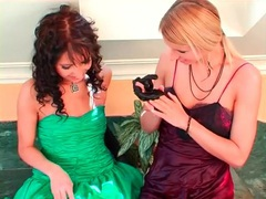 Girls in cute prom dresses fool around in the tub videos