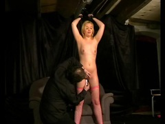 Clothes pin play with a bound young blonde tubes