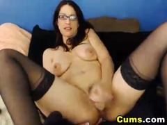 Horny glasses girl fucks her pussy videos