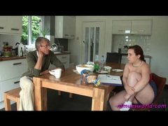Couple chats over breakfast and he spanks her videos