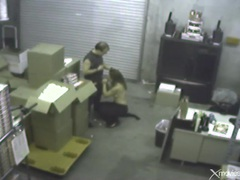 Blowjob in the warehouse caught on security camera videos