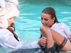 Fully clothed swimming with ladies in satin blouses movies at find-best-lingerie.com