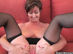 Classy grandma in stockings shows her big tits and pussy videos