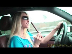 Sexy chick eating beef jerky in the car movies at find-best-panties.com