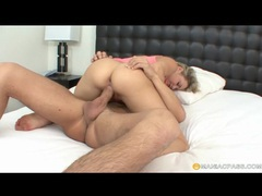 Cute blonde sucks his dick and takes a ride on it videos