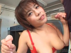 She jerks off a dick and it cums on her tits movies at sgirls.net