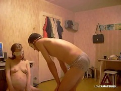 Fooling around with his naughty masked girlfriend movies at kilosex.com