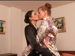 Girls in hotel room have classy lesbian sex videos