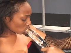 Curvy black hotties have latex lesbian sex in prison videos
