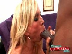 Bimbo mom wraps hot lips around a big black cock videos