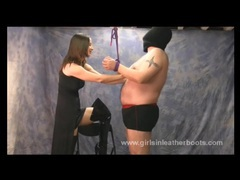 Slave bondage and worship of femdoms sexy leather boots videos