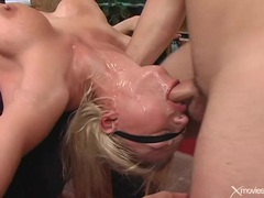 Throat fucking a slutty blindfolded blonde videos