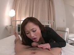 Japanese slut sucks the plump head of his cock videos