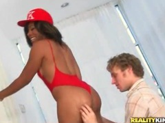 Black chick in red swimsuit licked and fucked videos