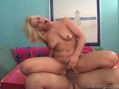 Blonde plowed in her hairy vagina and moaning movies at lingerie-mania.com