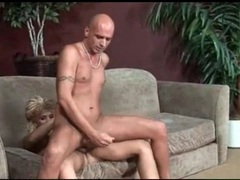 Skinny guy sits on shemale cock and loves anal videos
