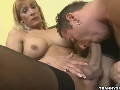 Blonde shemale gets head before fucking a stud hard movies at kilotop.com