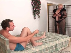 Fat mom teases him in lingerie and sucks his cock movies at very-sexy.com