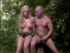Finger banging a fake titty blonde chick in jungle movies at find-best-videos.com
