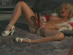 Fuzzy red lingerie on a gorgeous blonde sucking dick videos