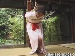 Japanese babe tied with her kimono shibari tubes at lingerie-mania.com