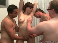 Three older guys blown by slutty girl movies at lingerie-mania.com
