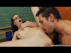 Hot teen in sexy glasses has sex in classroom movies at find-best-babes.com