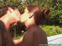 Horny amateur couple have pool fun movies at freelingerie.us