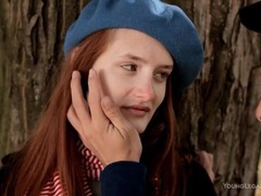 Kissing a sexy teen redhead in the park movies at sgirls.net