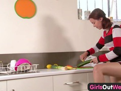 Girls out west - vegetables in her hairy amateur pussy tubes