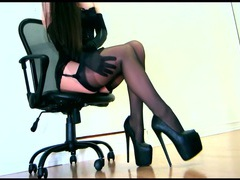 Sensual teasing in a corset and layered hosiery movies at kilogirls.com