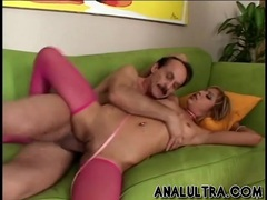 Pink stockings and leash for her double penetration videos