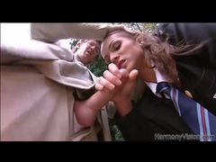 Beautiful schoolgirl sucks cock outdoors tubes