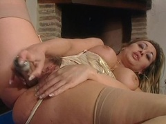 Fireside toy sex with hottie in lingerie videos