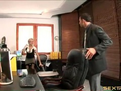 Secretary in satin fools around with her boss videos