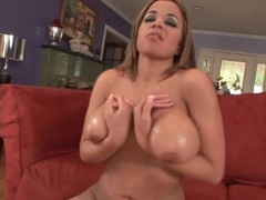 Curvy girl oils up her tits for a titjob movies at find-best-pussy.com
