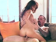 Tattooed guy has a hot young babe riding his cock videos