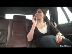 Chick smokes and sucks dick in the backseat of car clip