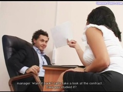 Girl in heels dominates him in office movies at sgirls.net