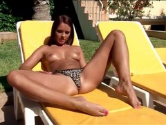 Young body in leopard print bikini outdoors movies at find-best-lingerie.com